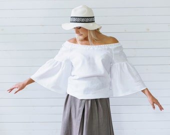 Linen blouse, Ruffle sleeve top in white, Linen summer blouse, Off shoulder top, 3/4 sleeve linen blouse, Ruffle blouse linen, Summer top