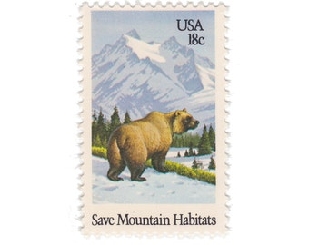 10 Unused Vintage Postage Stamps - 1981 18c Grizzly Bear - Item No. 1923