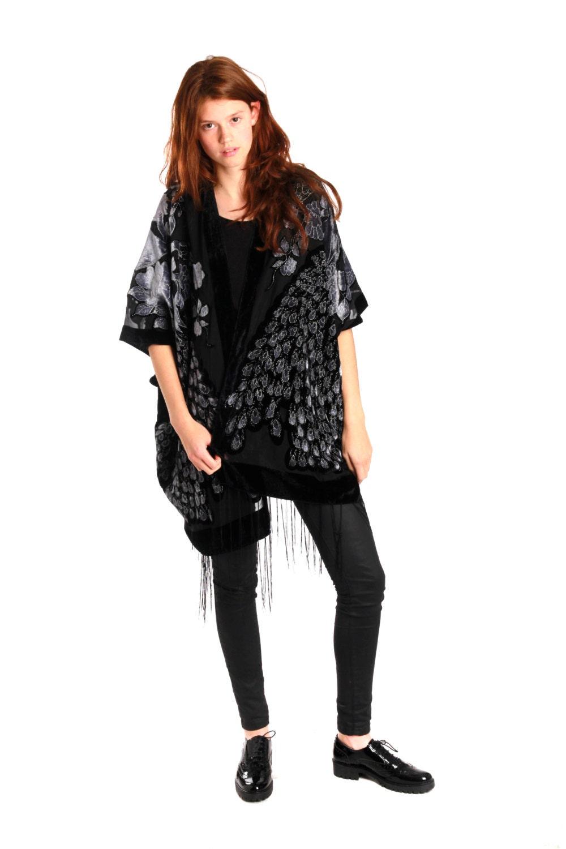 gray hippie boho gypsy kimono velvet jacket boho devore. Black Bedroom Furniture Sets. Home Design Ideas