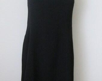 Vintage Classic Sheath Dress Size 10 Black Sleeveless Knee Length Career Event by Jacqueline Ferrar