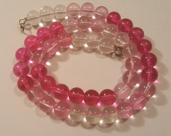 Pink ombre glass beaded 19 in. Necklace handmade