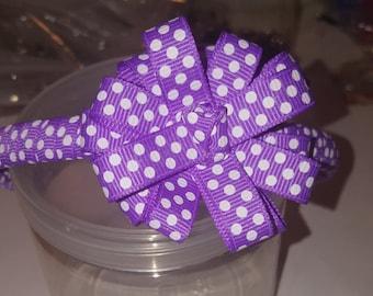 Purple white polka dot head band