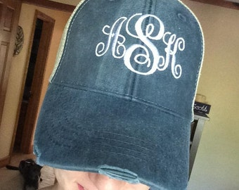 Women's Custom Monogrammed Adams Distressed Trucker Hat/Cap Personalized Monogrammed Embroidery Bridal party or bridesmaid gift wedding gift