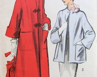 50s  CLASSY  Swing Back Jacket Pattern ADVANCE 5460  Bust 38 Vintage Sewing Pattern