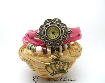 """wrist watch with leather bracelet chain """"Queen"""""""