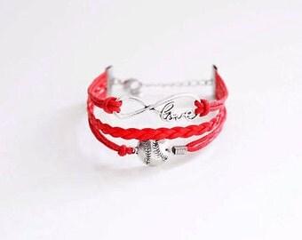 Love Baseball Red Cord Bracelet