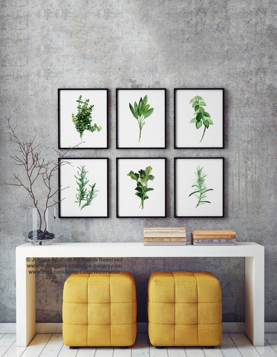 Herbs Chart Set Of 6 Art Print Botanical Painting Spices