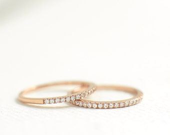 Rose Gold Half Eternity Ring 1.2mm - Rose Gold Stacking Ring - Thin Rose Gold Band - Wedding Band - Rose Gold Ring for women - A45