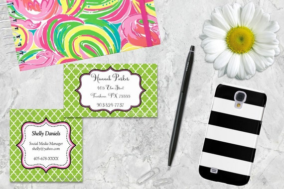 Gift Tags, Lime, Quatrefoil, Pink, Tags, Business Cards, Calling Cards, Appointment Cards, Personalized Gift Tags