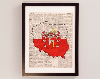 Poland Dictionary Art Print - Polish Flag Art - Print on Vintage Dictionary Paper - Coat of Arms, Warsaw, Krakow, Lodz, Wroclaw