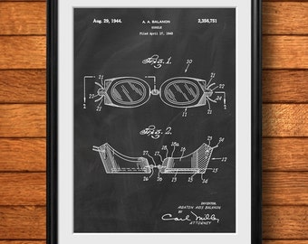 Retro 1943 Swimming Goggles - Vintage Art Print Poster or Canvas, Patent Wall Art, Home Decor, Swimming Decor, Swim Meet, Swimmer Gift 817