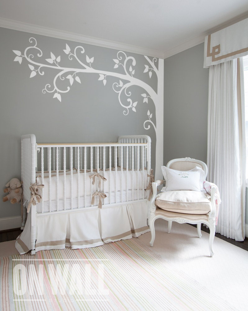 White tree wall decal nursery wall decoration tree wall zoom amipublicfo Choice Image