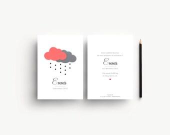 """Faire-part de naissance """"Emma"""", avec deux nuages"""