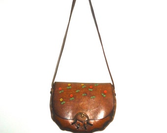 60s 70s Leather Purse Hand Bag Shoulder Bag Tooled Painted Flowers Hippie Boho