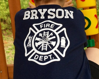Kids Fire Dept shirt - Personalized