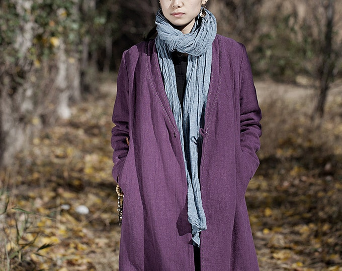 Cotton-padded linen coat - Long fall/winter coat - Long sleeves coat - Chinese Style - V collar - Made to order
