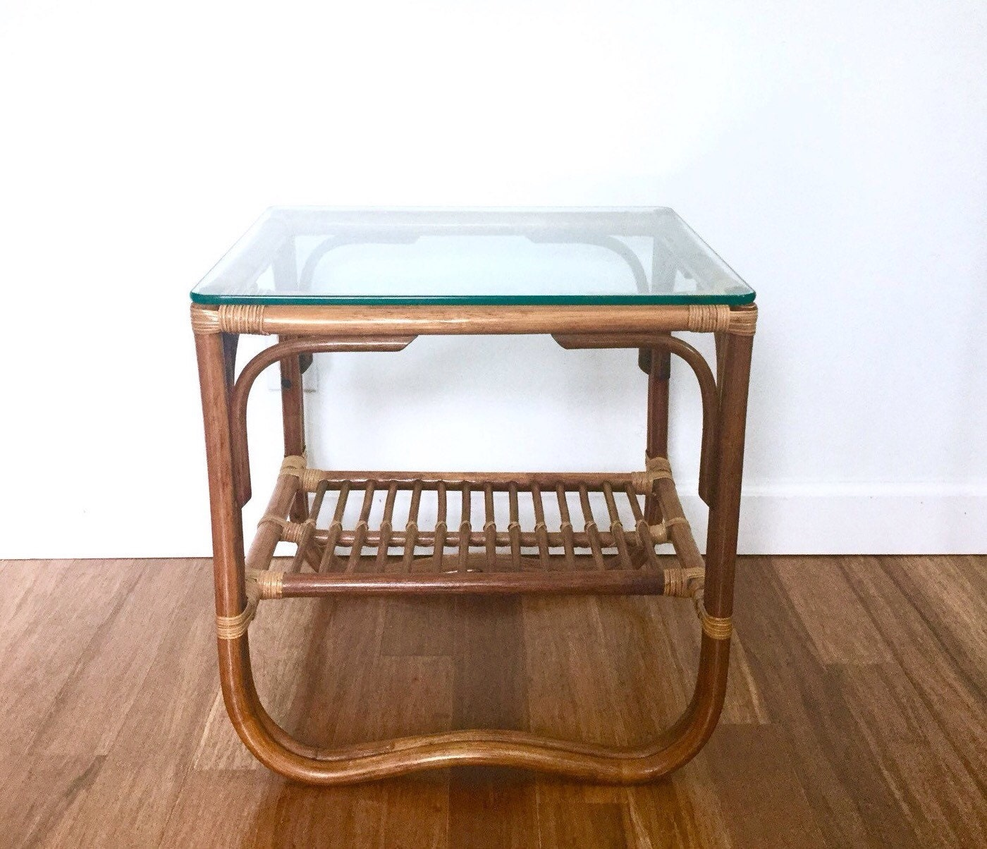 Rattan Coffee Table Etsy: SOLD Bamboo Rattan And Glass Side Table Bentwood Bohemian