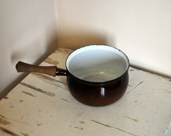 Brown Holland Pottery Enamel Sauce Pan - Mid Century Enamel Cooking Pot made in the Netherlands