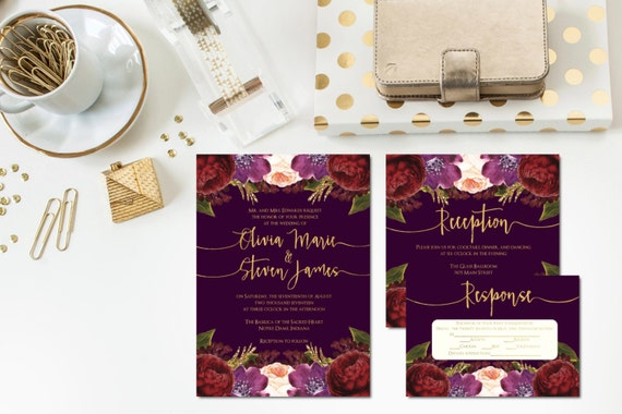 Lush Autumn Wedding Invitation Suite