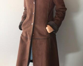 Vintage Shearling Coat/ Brown Shearling Coat/ Black Fur Coat/ Women Shearling Coat/ Brown Shearling Coat