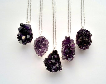 Silver Edged Amethyst Druzy Necklace Drusy Pendant Silver Dipped Stone Druzy Jewelry Crystal Stone Mineral Jewelry Amethyst Jewelry Clster