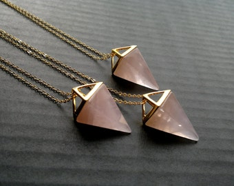 Rose Quartz Necklace Triangle Necklace Rose Quartz Pendant Geometric Pendulum Necklace Pink Stone Necklace Rose Quartz Jewelry Pyramid