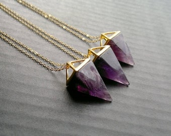 Amethyst Necklace Triangle Necklace Amethyst Pendulum Geometric Necklace Purple Stone Necklace Amethyst Jewelry Geometric Jewelry Mineral