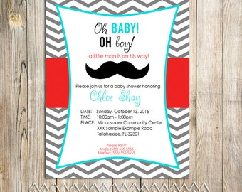 Little Man Printable Baby Shower Invitation