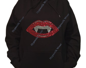 """Rhinestone Women's Pullover Hoodie """" Vampire Lips """" Sweatshirt Sm to 3X"""