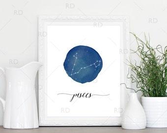 Pisces Constellation Zodiac - PRINTABLE Wall Art / Zodiac Constellation Wall Art / Zodiac Art by Month / Astrological Art Printable