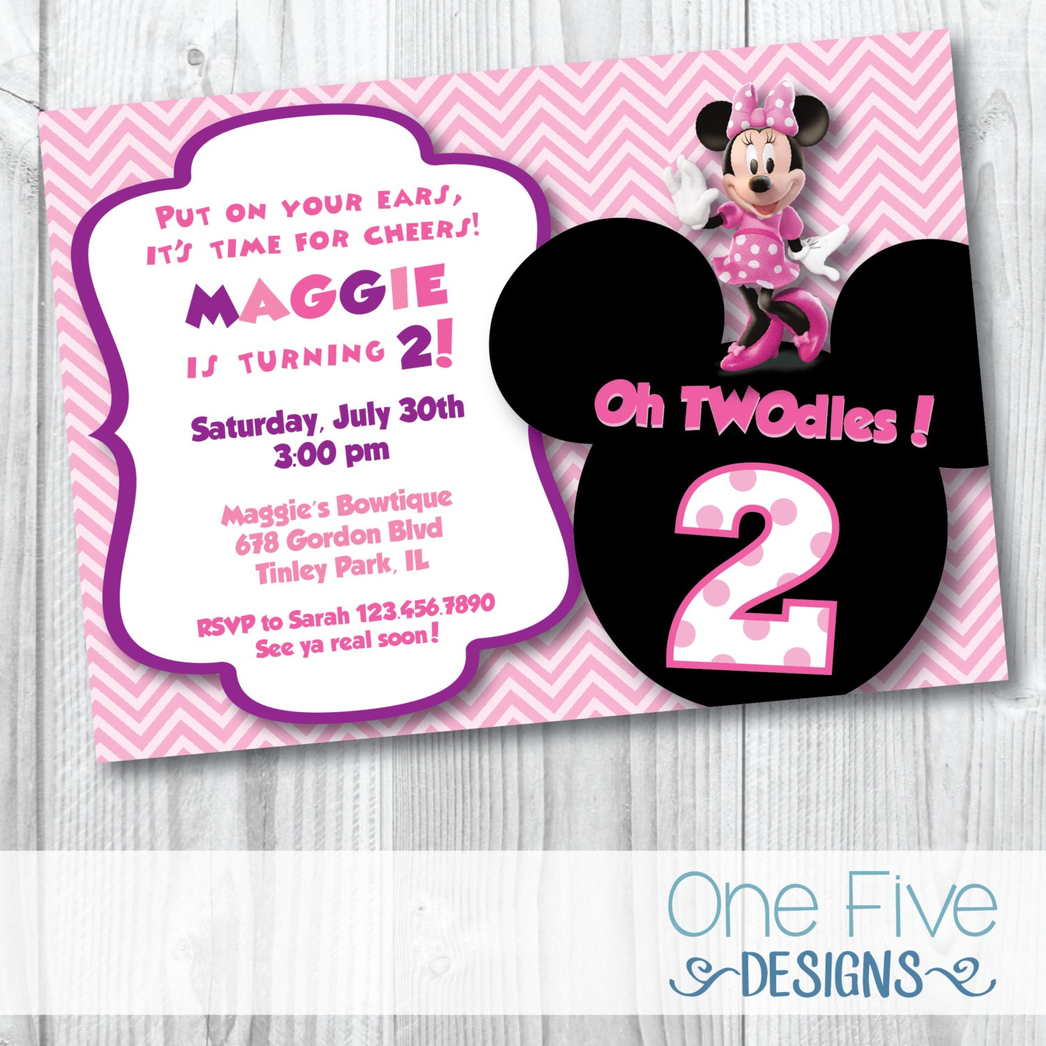 Minnie Mouse Oh TWOdles Birthday Party Invitation