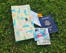 Passport portfolio, Passport wallet, Flower travel wallet, Passport Organizer, Plane portfolio, Wallet for traveling, portfolio to travel