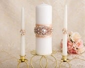 Rose Gold Unity Candle Set, Rose Gold Wedding Candle Unity, Rhinestone Unity Candle Wedding Rose Gold Bling Unity Candles, Custom Color