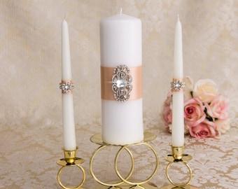 Unity Candle Set - Wedding Candles, Wedding Candle Set, Art Deco Wedding Candles