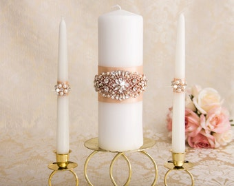 Rose Gold Unity Candle Set, Rose Gold Wedding Candle Unity, Rhinestone Unity Candle Wedding Rose Gold Bling Unity Candles, Custom Color