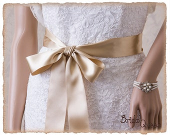 "Champagne Wedding Sash Belt 2"" French Deluxe Champagne Bridal Sash, Champagne Satin Ribbon Bridal Belt,  Wedding Sash, Satin Bridal Sash"