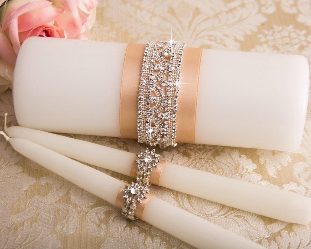 Wedding Candles: Crystal Unity Candles Set Rhinestone Wedding Candles Bling