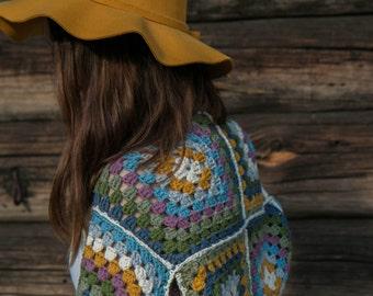 Crochet granny square bolero