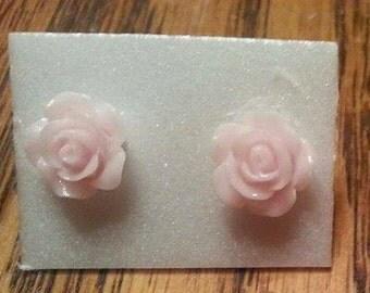 Light Pink/Pastel Pink rose earring