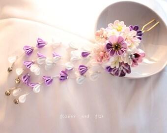 wedding-bridal hair fork,accessories- Kanzashi Hair Stick, geishas hairpiece, Japanese hair  stick, Kanzashi flower, Janpanese Kanzashi-B41