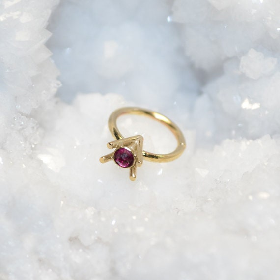 Gold Nose Ring Hoop - Nose Stud - 2mm Red Ruby Tragus Earring Hoop - Cartilage Hoop Earring - Daith Earring - 20g Rook - Conch Piercing