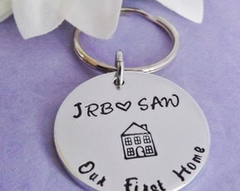 First Home Keyring - First Home Keychain - New Home Keychain - New Home Keyring - House Keyring - Couple Gift - Personalised Keyring - Wife