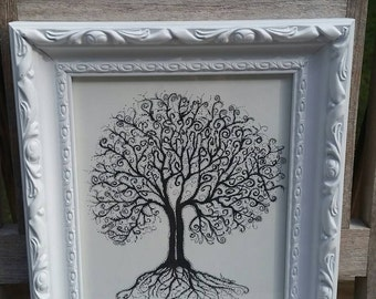 Whimsical double Tree in White Frame