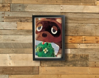 TOM NOOK poster - Inspired by the Animal Crossing Series  Fine art Giclée print.
