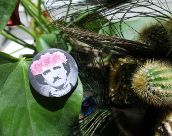 Edgar Allen Poe in a flower crown 32mm pin back badge