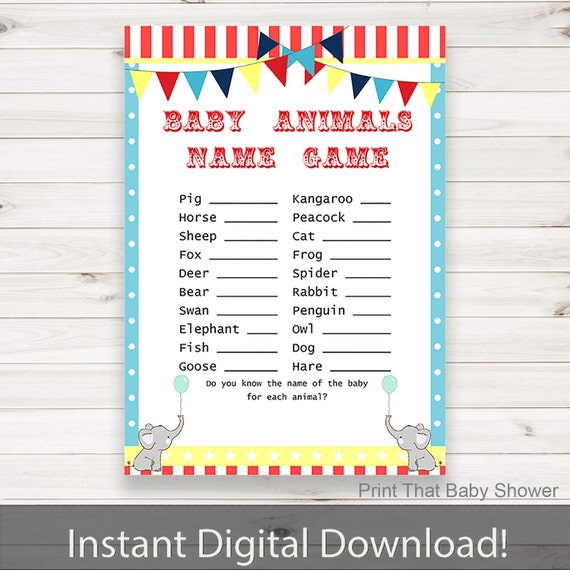 Baby Shower Game Name The Baby Animal: Baby Shower Games Baby Animals Name Game By