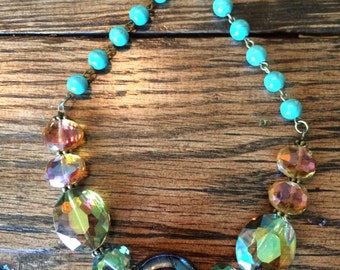 """Turquoise Stone and AB Faceted Crystal Bead Necklace 20"""""""
