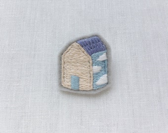 Cloud House Side Felt Embroidered Pin Brooch