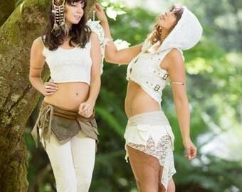 Maya Vest (White) - Boho Gypsy Hoodie Festival Tribal Hippie Big Hood Lace