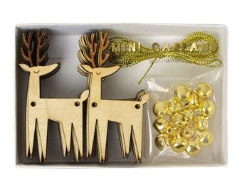 Small Meri Meri Wooden Reindeer Garland with Christmas Bells! TOO CUTE!!